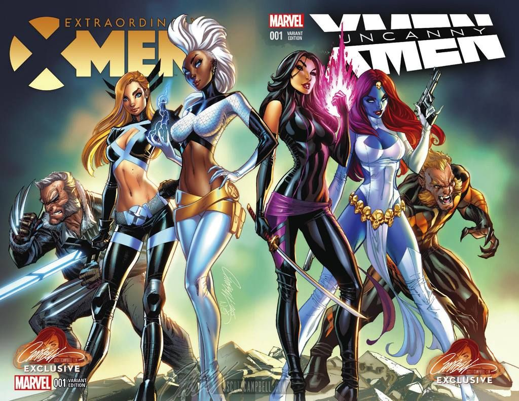 Extraordinary X Men 1 And Uncanny X Men 1 Connecting Covers By J Scott Campbell Comics Girls Marvel Girls Comics