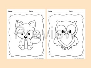 Woodland Forest Animals Coloring Pages 8 Designs Fox Included Preschool Coloring Pages Coloring Pages Animal Coloring Pages