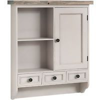 Large Wooden Kitchen Wall Storage Cabinet With Drawers Vintage Painted Chic
