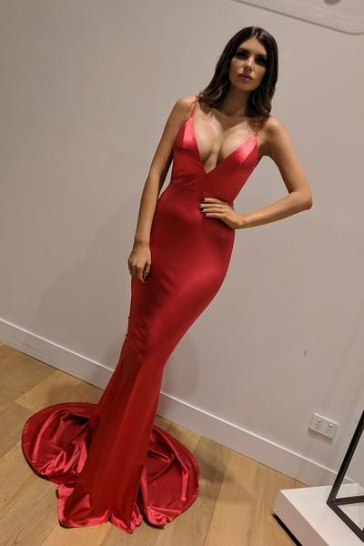 Buy Honey Couture MILEE Red Low Back Mermaid Evening Gown Dress at One Honey  Australian Boutique a1f9cadce