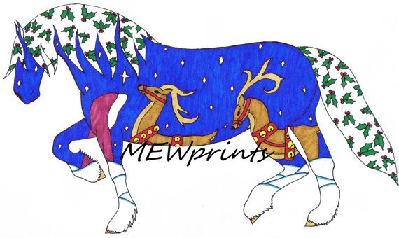 Christmas Horse by MEWprints on Etsy
