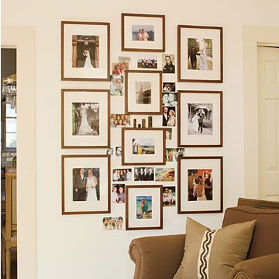 Family photo collage real life redo cozy den between for Picture frame ideas for living room
