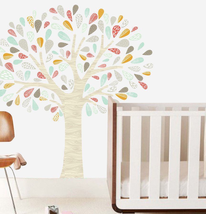 The Lovely Wall Whimsical Tree Wall Decal Mustard Orange Grey - $80  sc 1 st  Pinterest & The Lovely Wall Whimsical Tree Wall Decal Mustard Orange Grey - $80 ...
