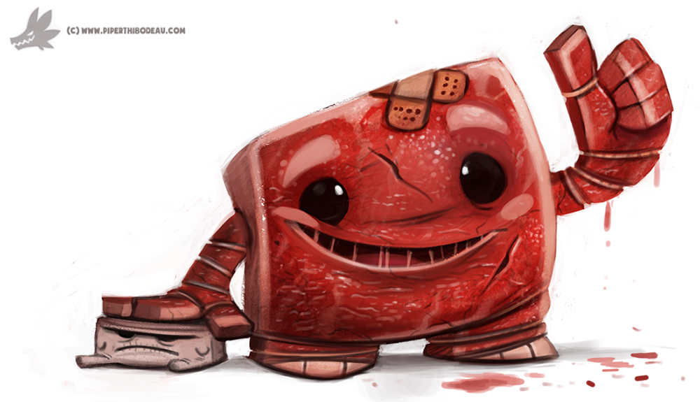 Day 804 Super Meat And Tofu Boy By Cryptid Creations Cute Animal Drawings Cute Monsters Character Illustration