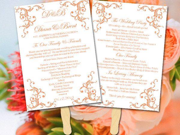 DIY Wedding Program Fan Template - Printable Wedding Program ...