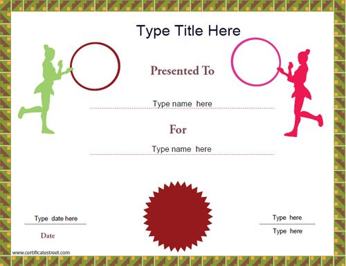 Sports Certificate - Gymnastics Award CertificateStreet - certificate border word