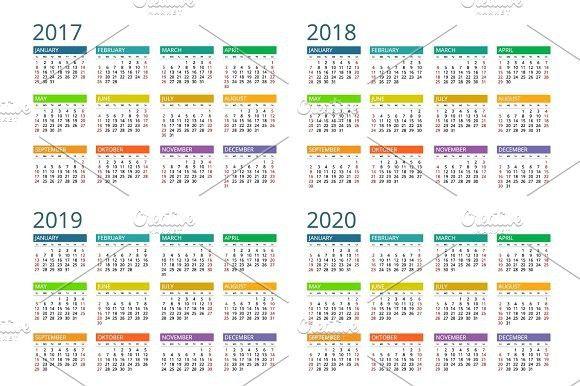 Calendar for 2017, 2018, 2019, 2020 Calendar Templates