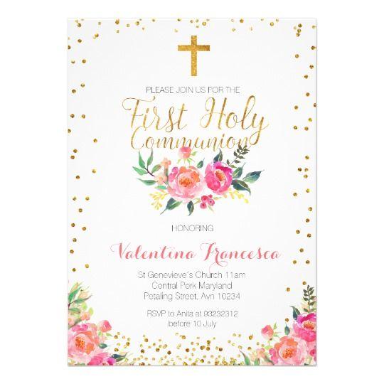 Floral Girl First Holy Communion Invitation Zazzle Com Communion