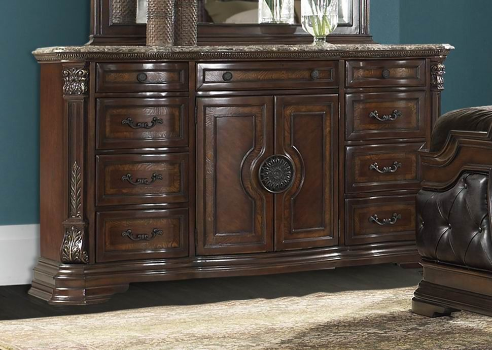 marble top bedroom furniture%0A Antoinetta Collection Dresser with Marble Top      Traditional elements of  Old World European styling are