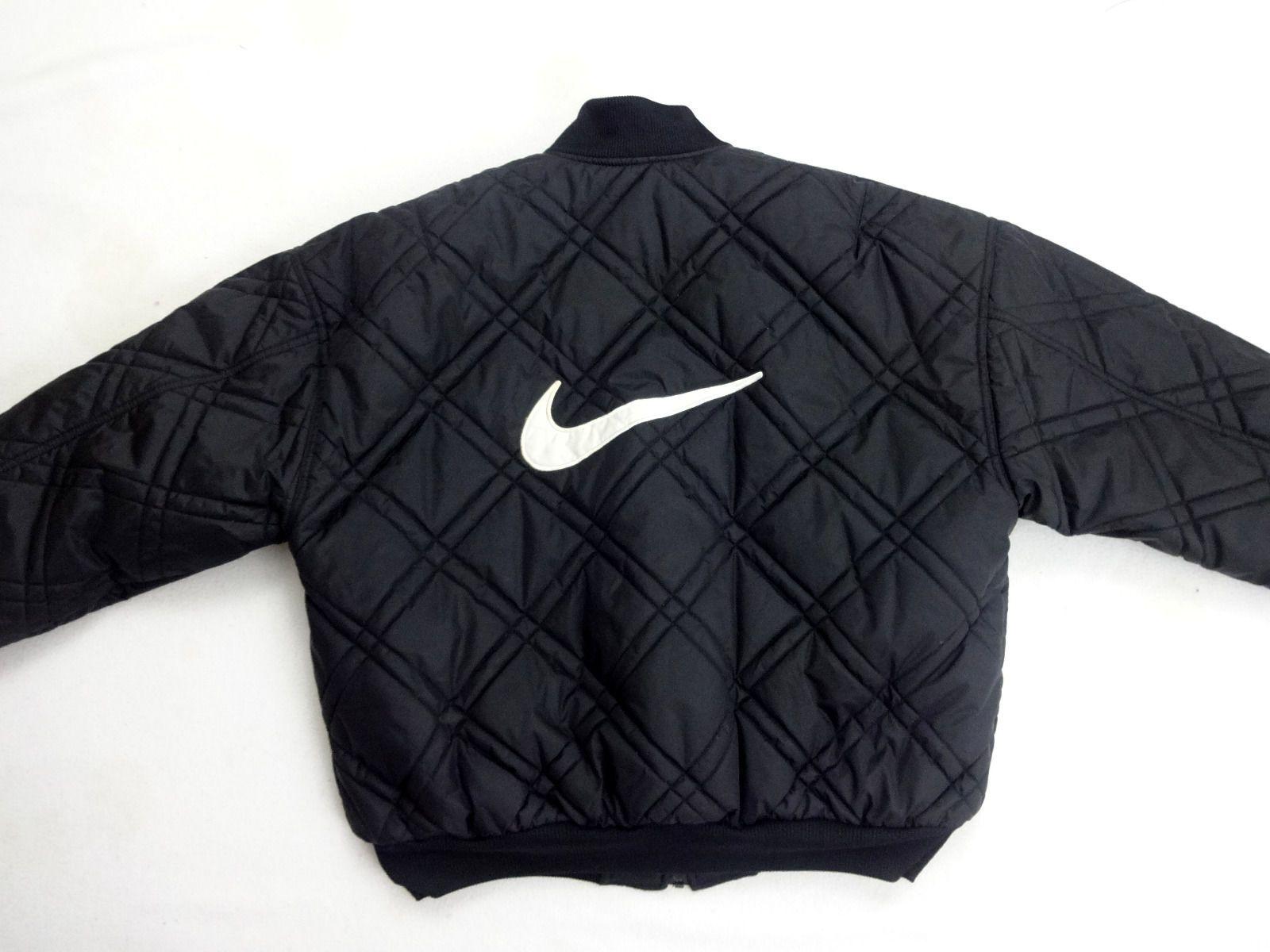 32cfdd3d27b5 Nike Men s Reversible Quilted Black Bomber Jacket Coat Large Swoosh 90s  Vintage