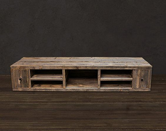 Reclaimed Wood Media Console Tv Stand On Etsy 1 445 00 Media