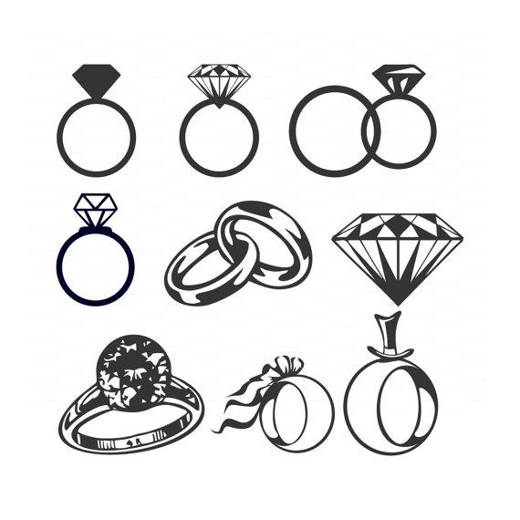 Boda diamante anillos (svg, dxf, ai, eps, png) vectores despedida de ...
