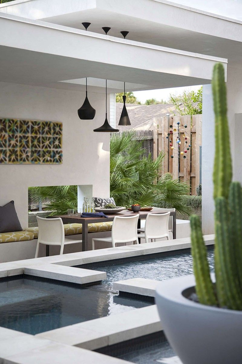a contemporary pool cabana for this texas home garden