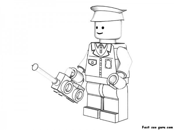 Printable Lego Policeman Coloring Pages Superheroes Fargelegge