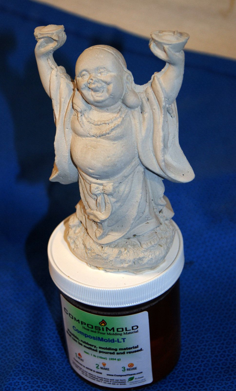 The Buddha was cast with plaster after we made a mold of a