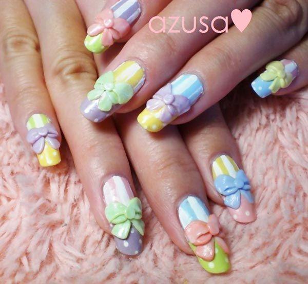 3d Bows Dots Stripes Pastel Easter Nails Nail Art Pinterest