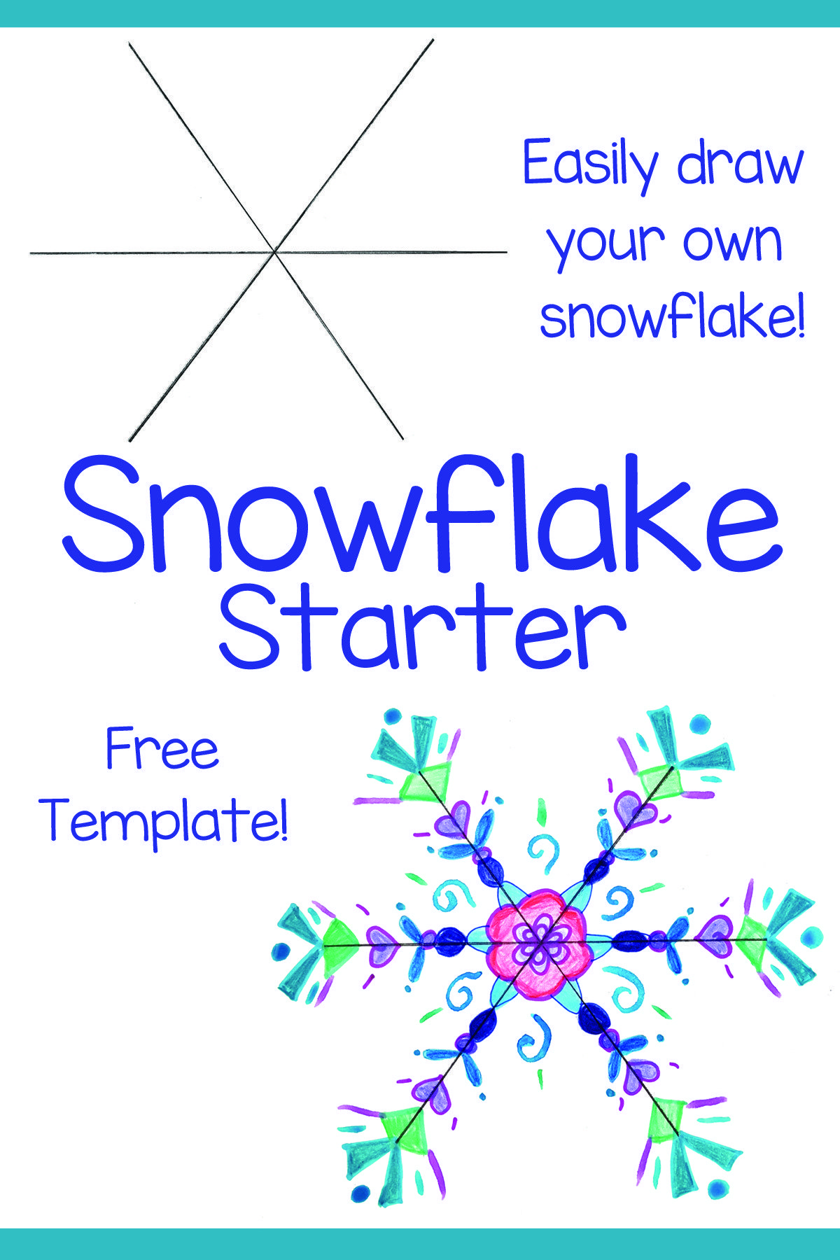 Snowflake Template: Easy to Draw! | Elementary art lesson ...
