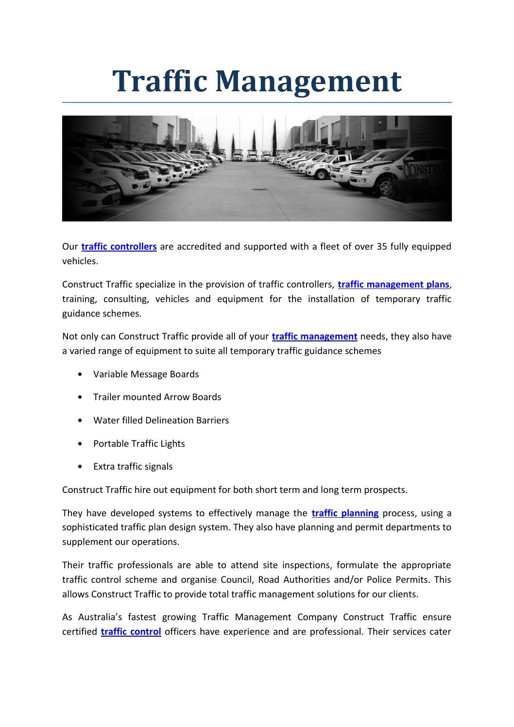 Traffic Management Melbourne  Melbourne And Management