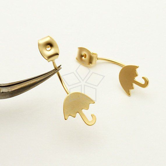EA-161-MG / 2 Pcs - Ear Jackets (Small Umbrella), for Ear Cuffs and Front Back Earrings, Matte Gold Plated over Brass / 8.6mm x 9.6mm #smallumbrella