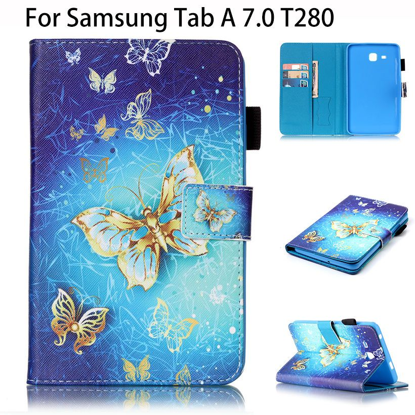 3e8adadc82e Painted PU Leather Case For Samsung Galaxy Tab A a6 7.0 T280 T285 SM-T280  Cases Cover Tablet Flip Fashion Butterfly Funda Shell #Affiliate