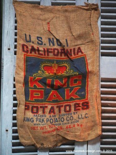 Ancien sac à pomme de terre americain, déco vintage USA