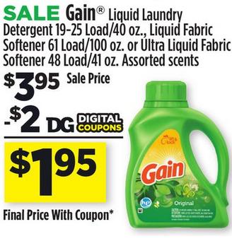 40oz Gain Liquid Laundry Detergent Or 100 Oz Fabric Softener For