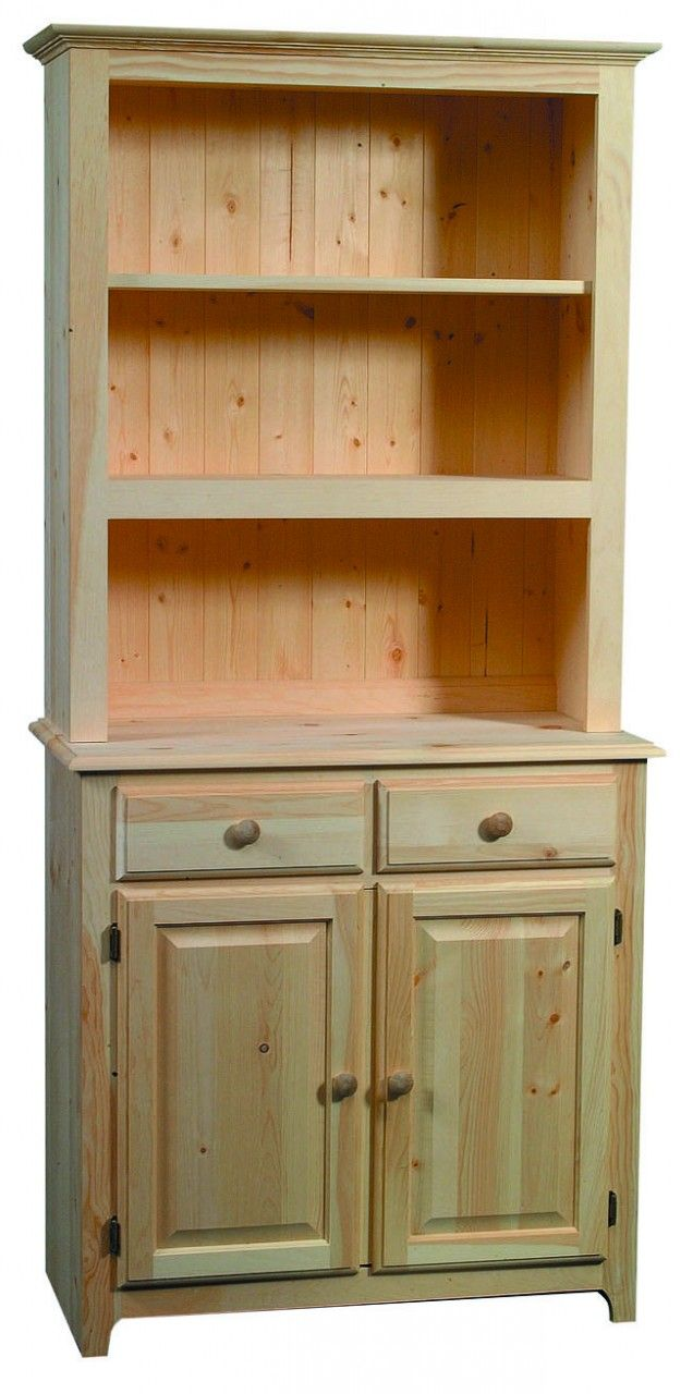 Solid Pine Buffet Hutch ARCH702 721 Real Wood FurnitureUnfinished