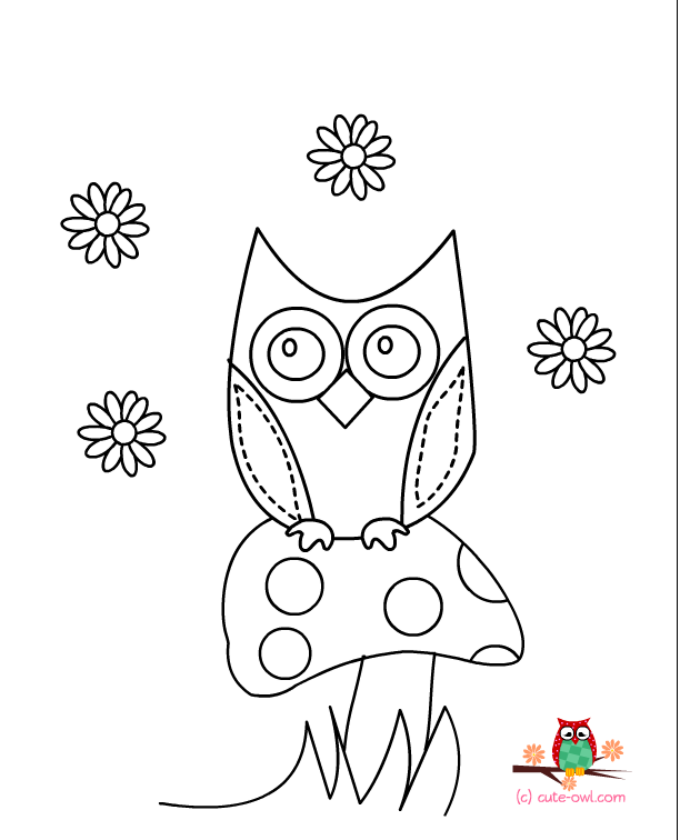 cute owl sitting on a mushroom coloring page for kids - Cute Pictures To Color And Print