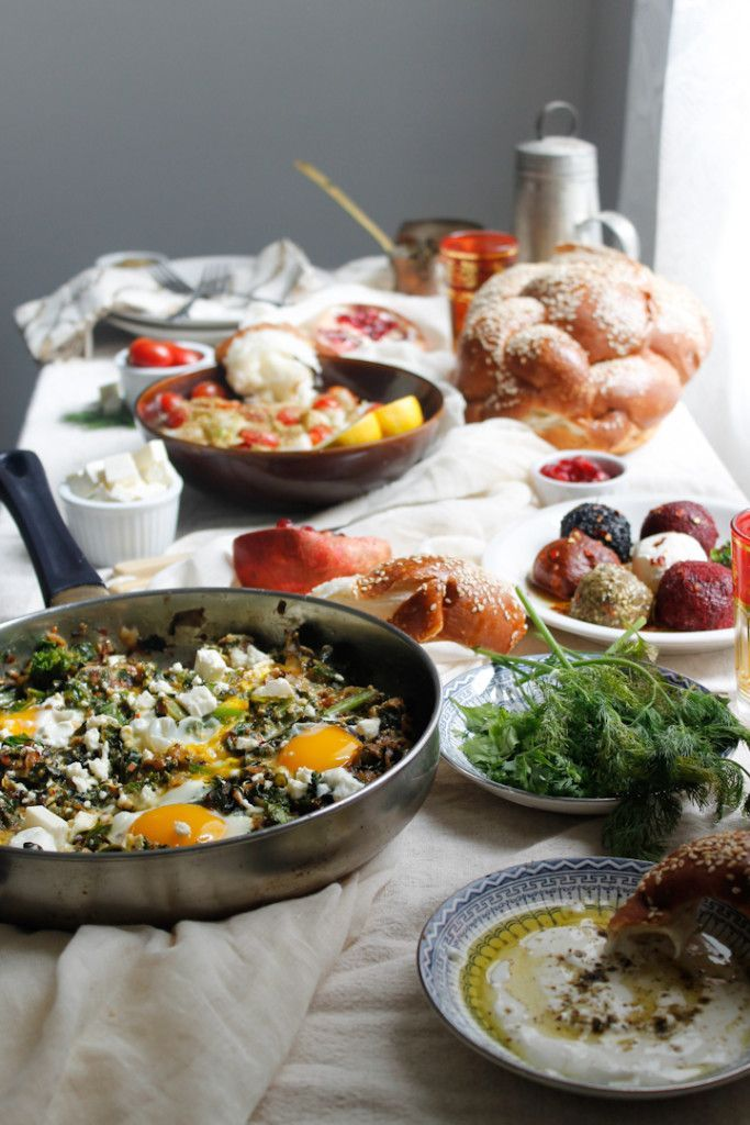 Green shakshuka and the ultimate Israeli breakfast A different take on Middle Eastern breakfast, this salty and savoury green is a perfect way to celebrate greens & the ultimate Israeli breakfast! Vegetarian, gluten-free.