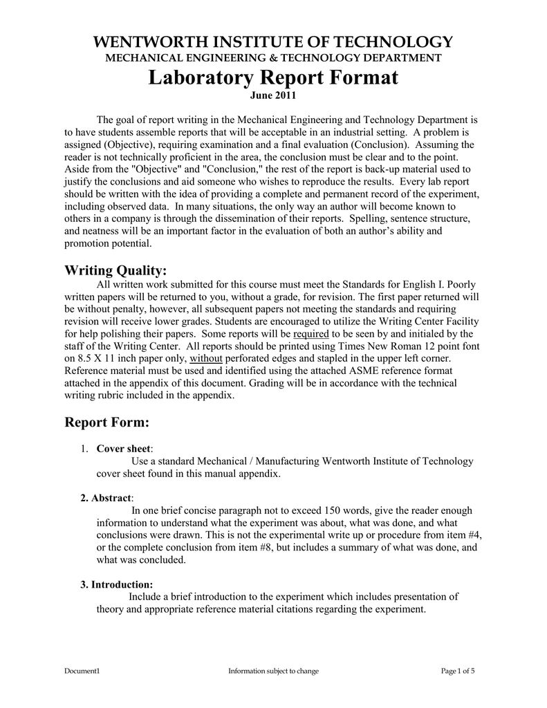 The Glamorous Laboratory Report Format With Engineering Lab Report Template Photograph Below Is Segment Of Engi Lab Report Template Report Template Lab Report