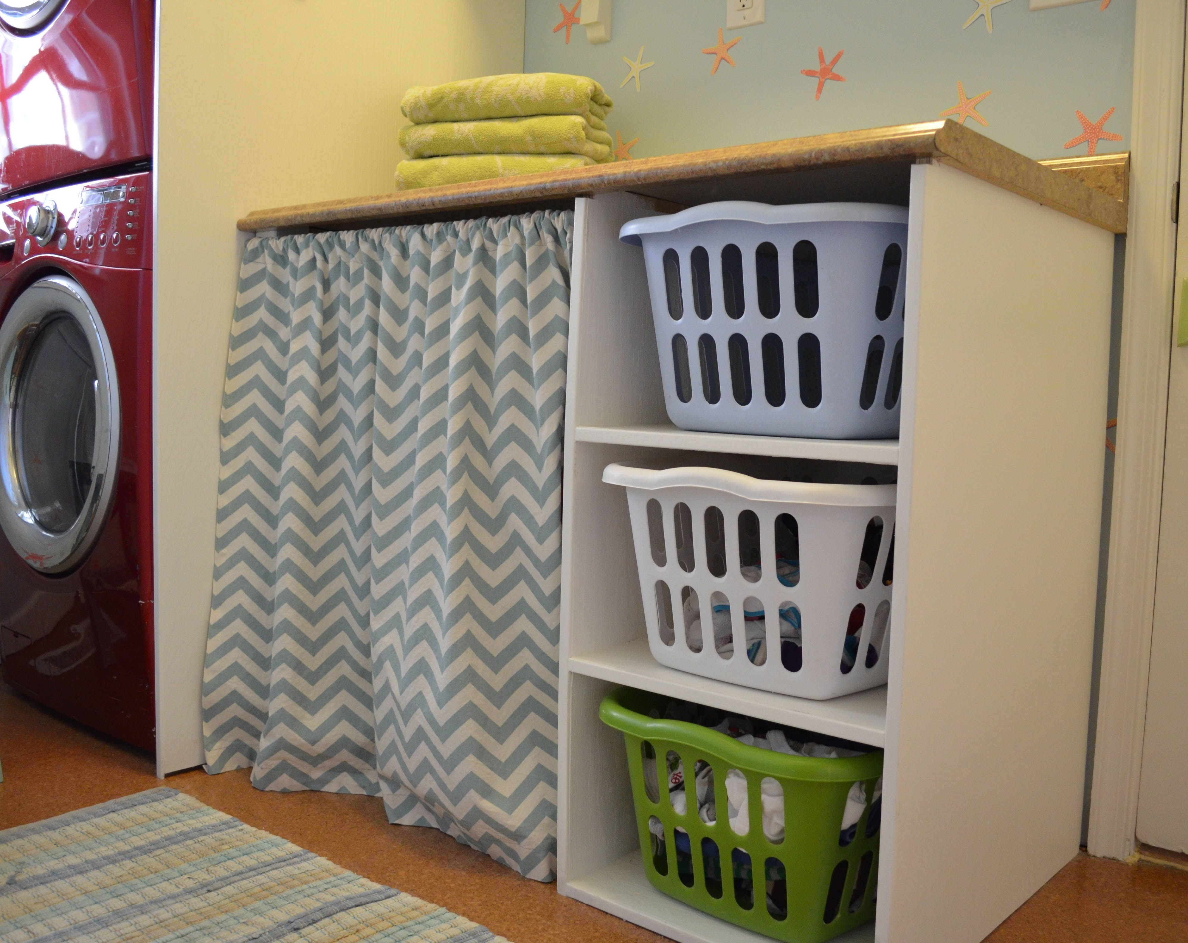 Laundry Basket Shelf   Smart Girls DIY · Laundry Basket ShelvesLaundry  StorageCabinet ...