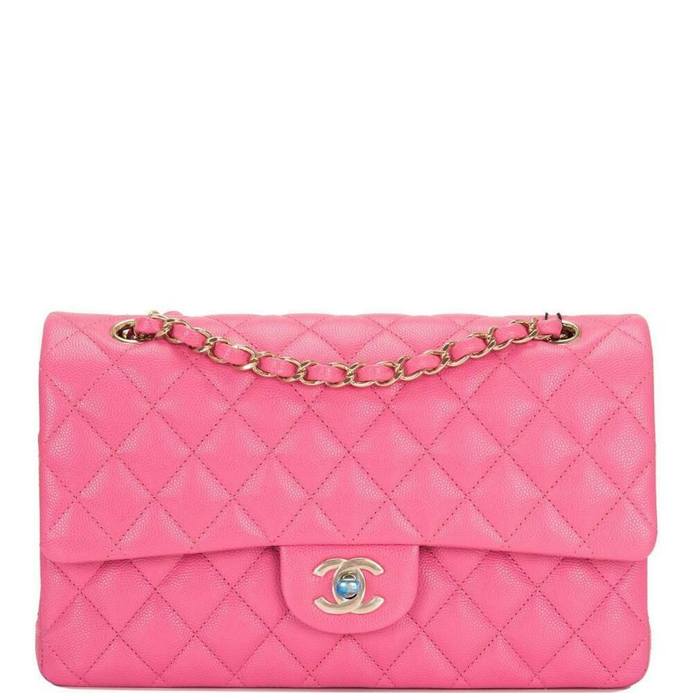 fe1e08e074bb Chanel Pink Quilted Caviar Medium Classic Double Flap Bag