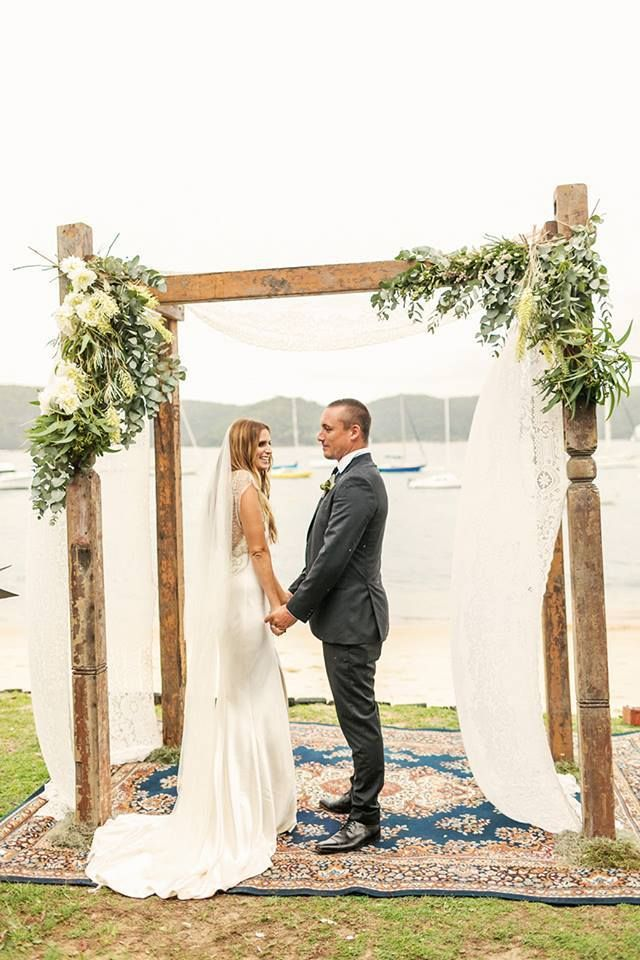 Rustic Porch Post Wedding Arbour On Our Vintage Persian Rug