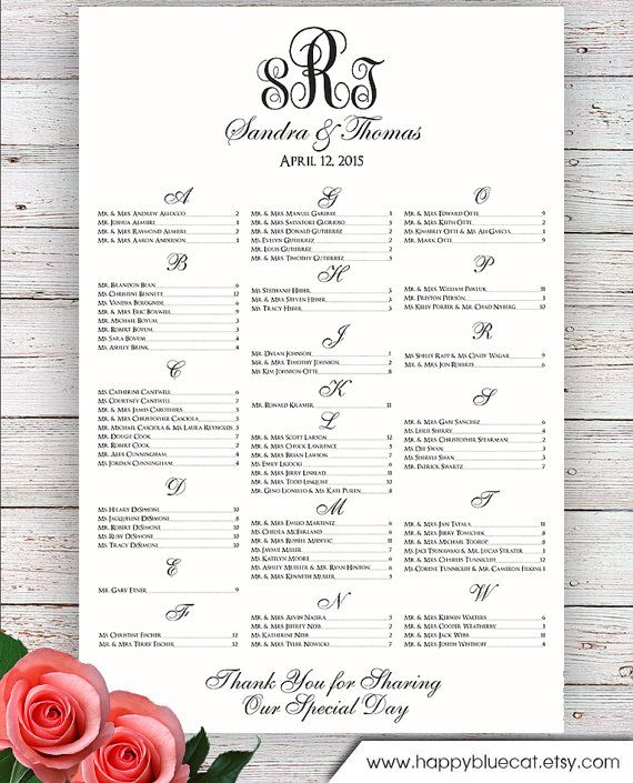 Free Printable Seating Chart Wedding Seating Chart  Rush Service  Monogram Wedding Seating .