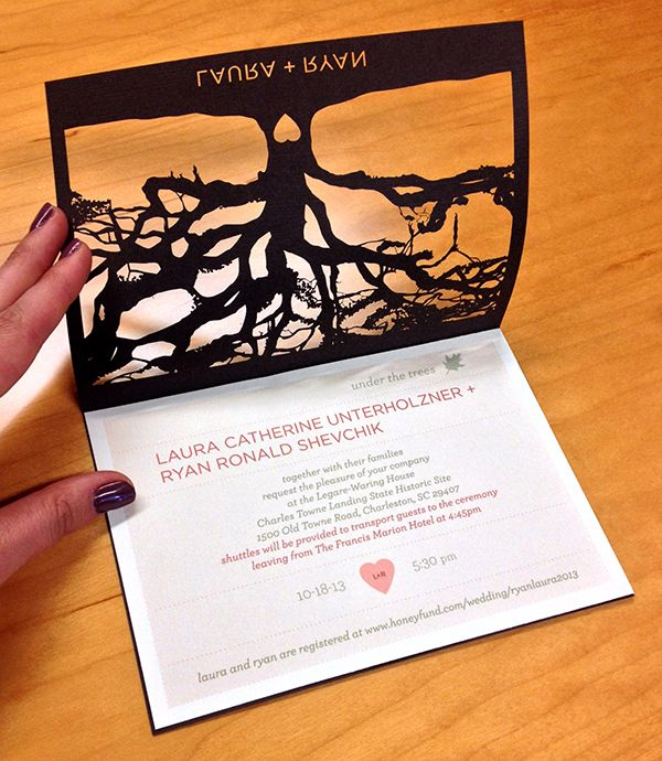 Cricut Explore Wedding Invitations: The Pink Heart Shows Through The Heart Cut In The Tree