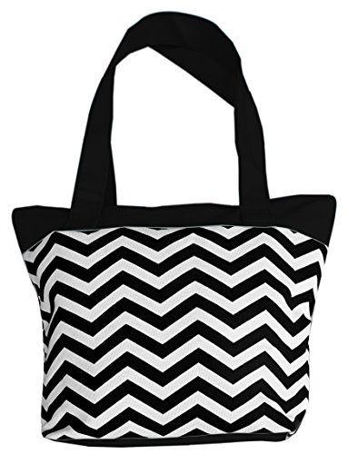 #deal Peach Couture® KENDALL Canvas Delux Fun Print Tote Versatile Bag Purse Handbag (Black Chevron)