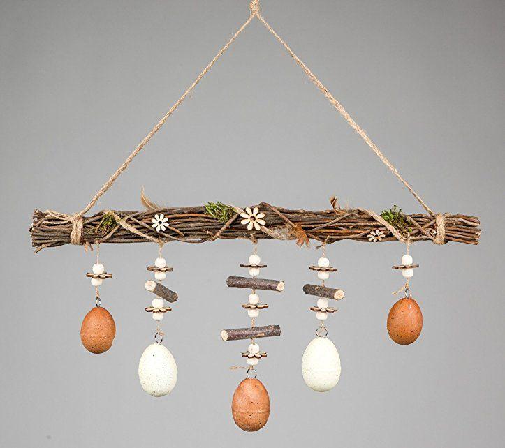 rustikale osterdeko zweigbündel mit eiern 50cm braun