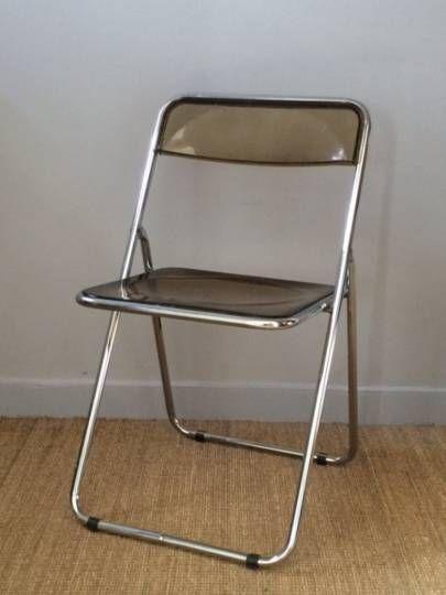 Chaise Pliante Vintage Annees 70 Assise Et Dossier En Plexiglas