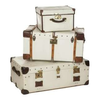 White Trunks Painted White With Brass And Wood Details