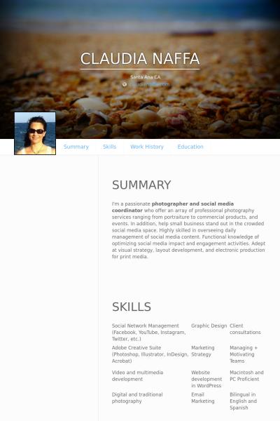 Freelance Photographer Social Media Coordinator Resume Example
