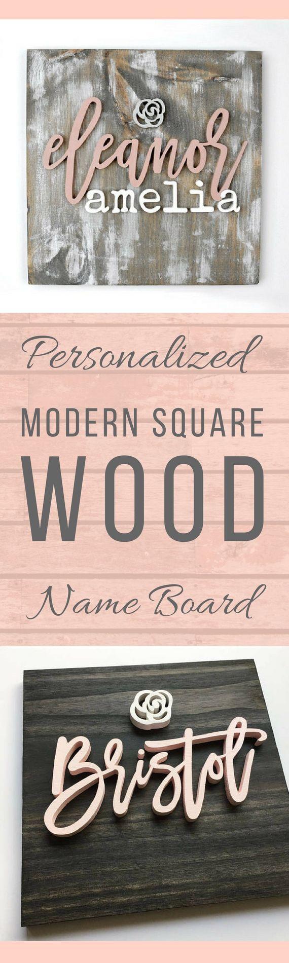Modern wood name board wood name sign custom wall art nursery