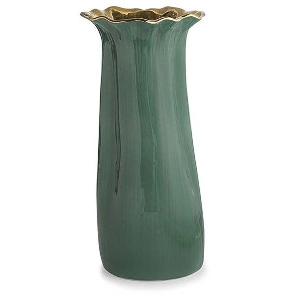 AERIN Floral Vase - Large ($532) ❤ liked on Polyvore featuring home, home decor, vases, green, green vase, floral home decor, colored vases, floral vases and green home decor
