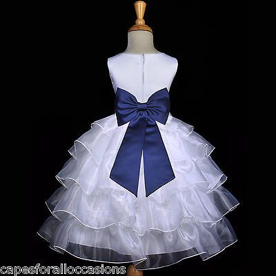 White navy blue bridesmaid wedding tiered organza flower girl dress ...