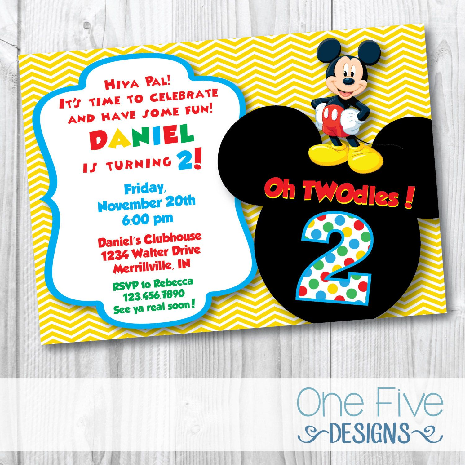 """Mickey Mouse """"Oh TWOdles"""" Birthday Party Invitation"""