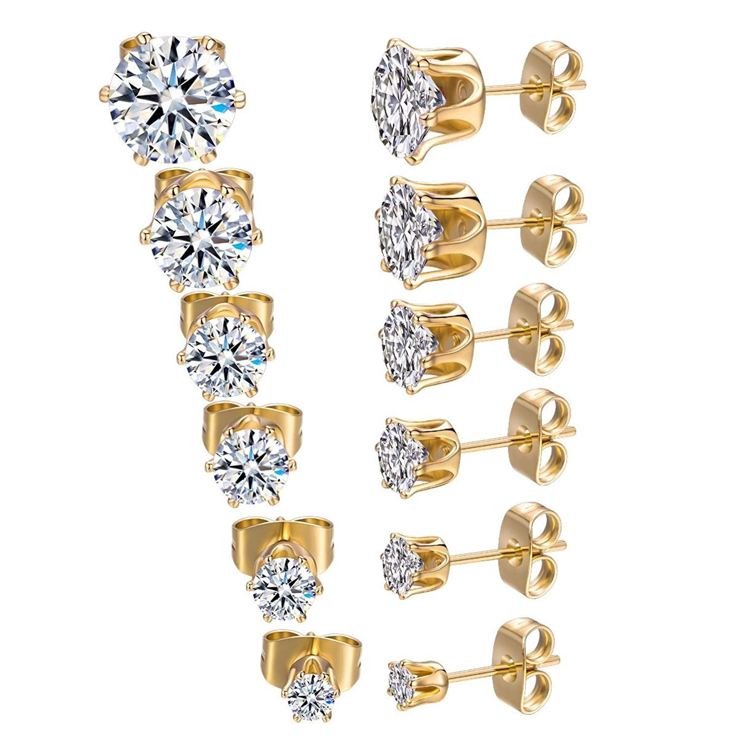 25742dc845 GEMSME 18K Yellow Gold Plated Round Cubic Zirconia Stud Earrings Pack of 6  ** We do hope you actually do enjoy our photo. (This is an affiliate link)  # ...