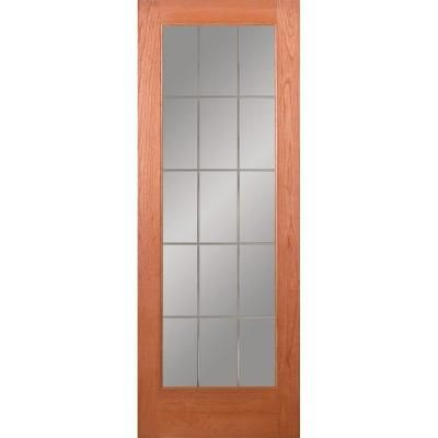 Feather River Doors 32 In X 80 In 15 Lite Illusions Woodgrain Unfinished Cherry Interior Pine Interior Doors Interior Barn Door Hardware Interior Wood Stain