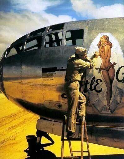 Little Gem B-29 getting her nose art
