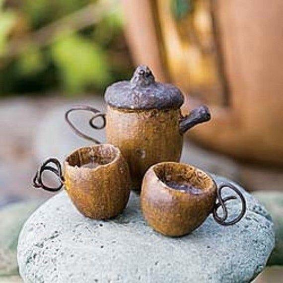 Miniature Garden Fairy Table and 2 Chairs plus Acorn Tea set Terrarium Fairy Garden