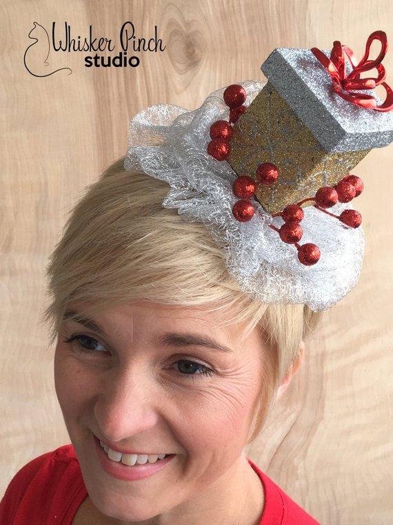 f62e7e6a6846d Christmas Fascinator   Glittered Present Headband   Holiday Headband   Ugly  Sweater Party Headpiece