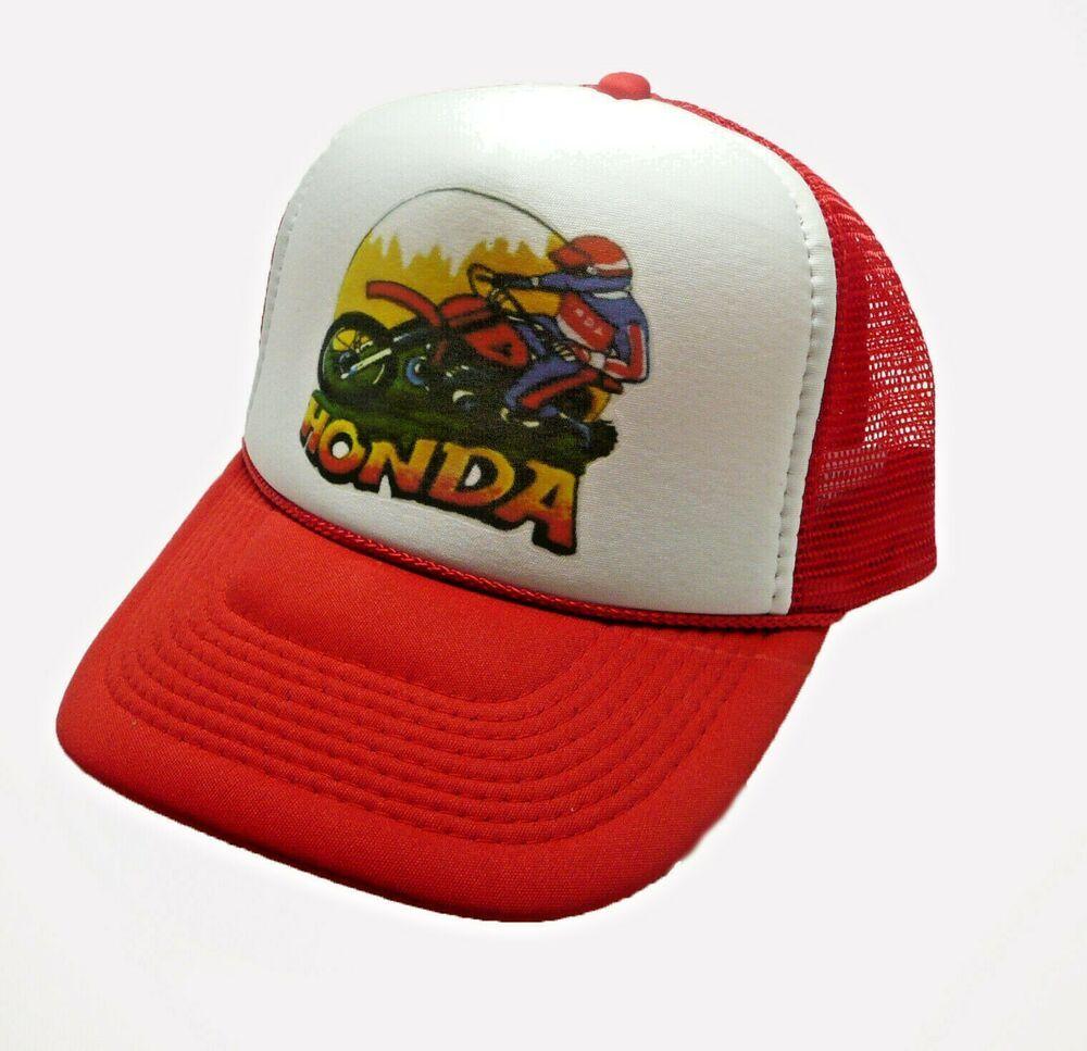 New 1980/'s Honda Motocross Trucker Hat Mesh Hat Snap Back Hat Black Red Vintage
